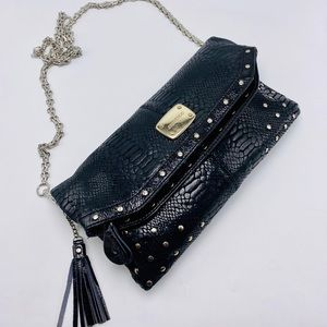 Vintage Jimmy Choo Croc Leather Fold-Over Clutch